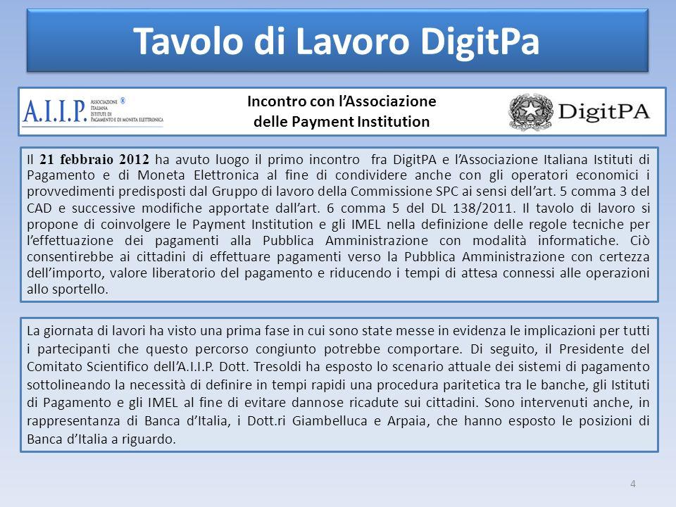 4 Tavolo di Lavoro DigitPa Incontro con lAssociazione delle Payment Institution Il 21 febbraio 2012 ha avuto luogo il primo incontro fra DigitPA e lAs