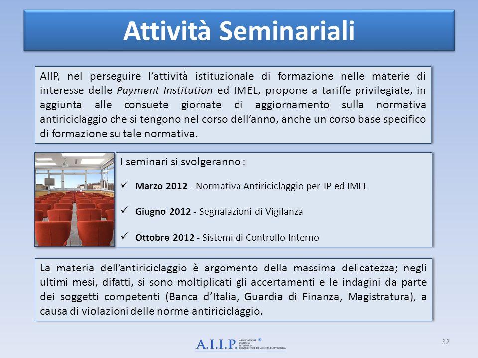 Attività Seminariali I seminari si svolgeranno : Marzo 2012 - Normativa Antiriciclaggio per IP ed IMEL Giugno 2012 - Segnalazioni di Vigilanza Ottobre