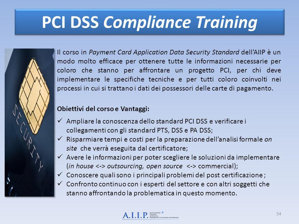 34 PCI DSS Compliance Training Il corso in Payment Card Application Data Security Standard dellAIIP è un modo molto efficace per ottenere tutte le informazioni necessarie per coloro che stanno per affrontare un progetto PCI, per chi deve implementare le specifiche tecniche e per tutti coloro coinvolti nei processi in cui si trattano i dati dei possessori delle carte di pagamento.