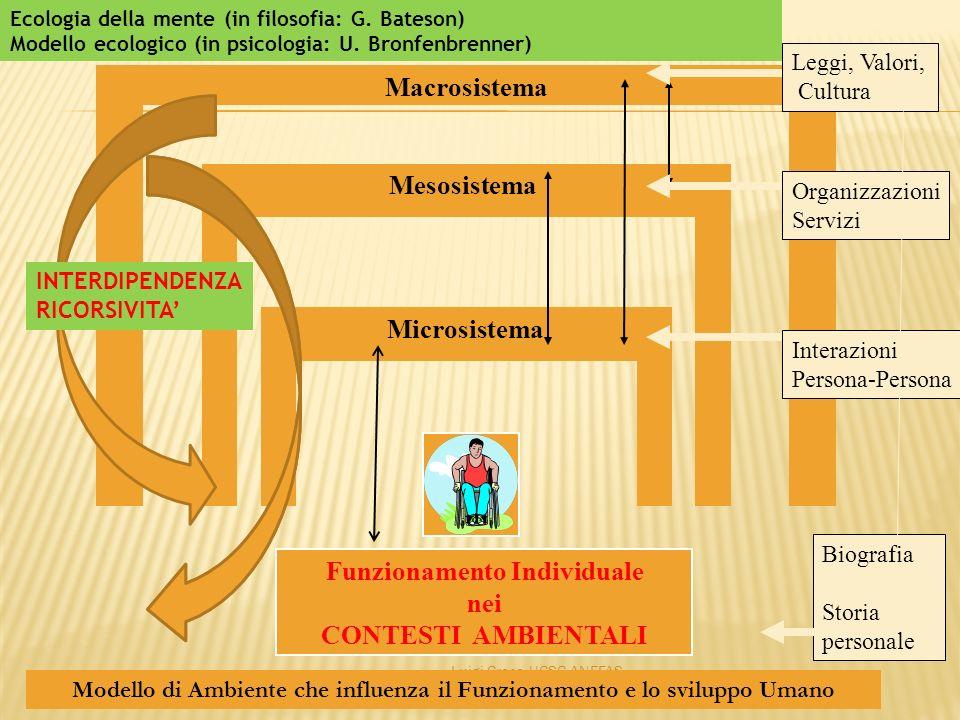 Luigi Croce UCSC ANFFAS Macrosistema Mesosistema Microsistema Funzionamento Individuale nei CONTESTI AMBIENTALI Modello di Ambiente che influenza il F