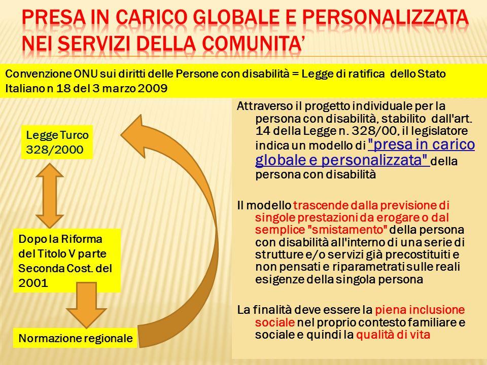 Attraverso il progetto individuale per la persona con disabilità, stabilito dall'art. 14 della Legge n. 328/00, il legislatore indica un modello di