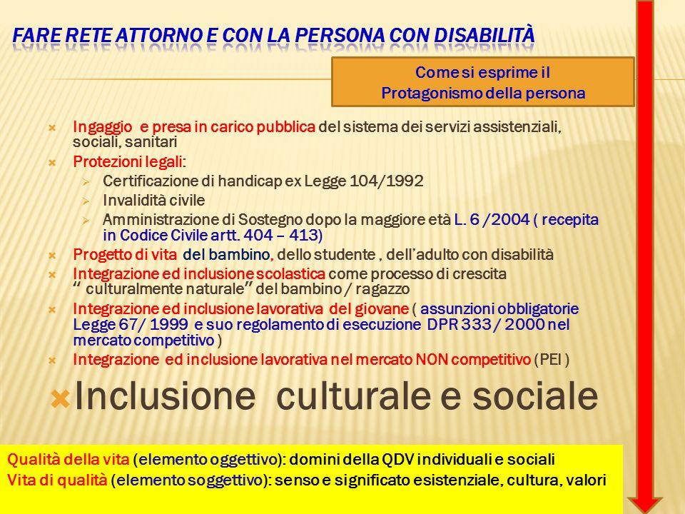 Ingaggio e presa in carico pubblica del sistema dei servizi assistenziali, sociali, sanitari Protezioni legali: Certificazione di handicap ex Legge 10