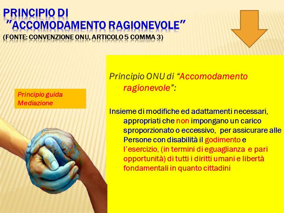 Principio ONU di Accomodamento ragionevole: Insieme di modifiche ed adattamenti necessari, appropriati che non impongano un carico sproporzionato o ec