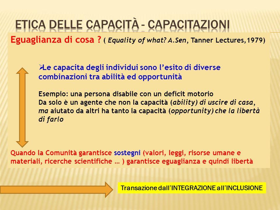 Eguaglianza di cosa ? ( Equality of what? A.Sen, Tanner Lectures,1979) Le capacita degli individui sono lesito di diverse combinazioni tra abilità ed