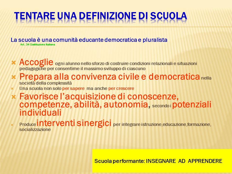 La scuola è una comunità educante democratica e pluralista Art. 34 Costituzione Italiana Accoglie ogni alunno nello sforzo di costruire condizioni rel