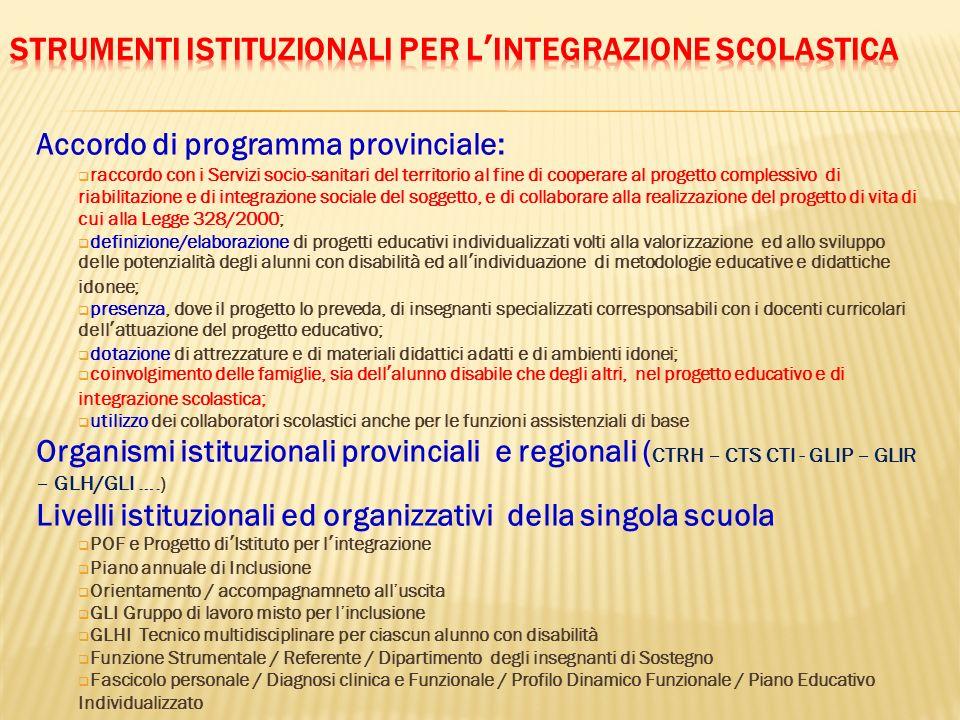 Accordo di programma provinciale: raccordo con i Servizi socio-sanitari del territorio al fine di cooperare al progetto complessivo di riabilitazione