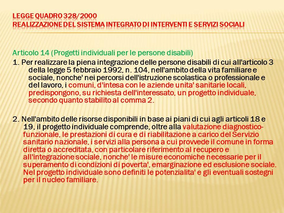 Articolo 14 (Progetti individuali per le persone disabili) 1. Per realizzare la piena integrazione delle persone disabili di cui all'articolo 3 della