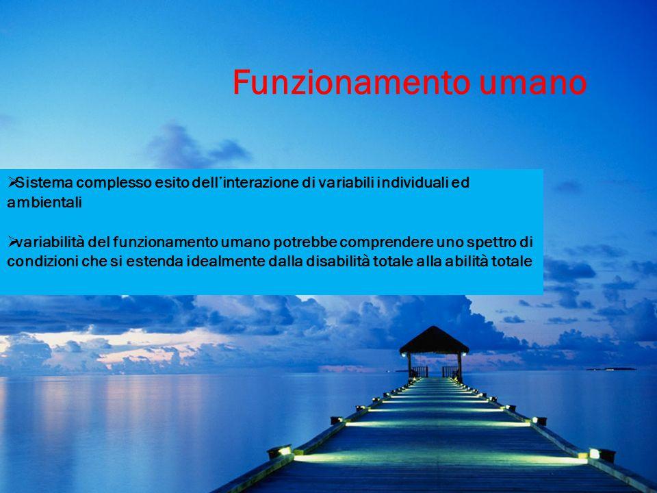 Funzionamento umano Sistema complesso esito dellinterazione di variabili individuali ed ambientali variabilità del funzionamento umano potrebbe compre