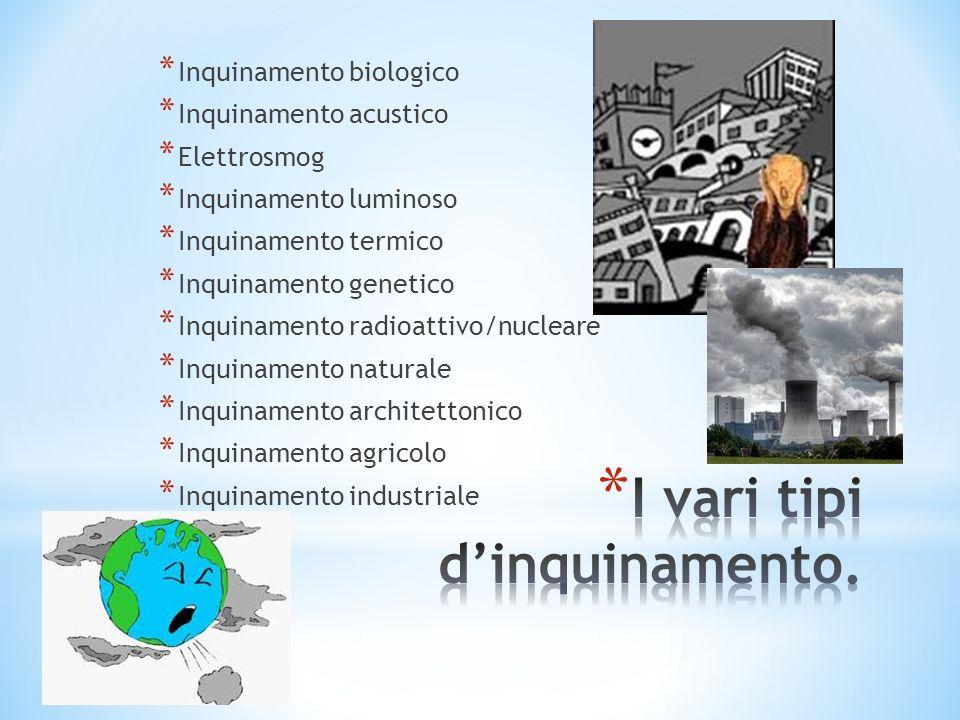 * Inquinamento biologico * Inquinamento acustico * Elettrosmog * Inquinamento luminoso * Inquinamento termico * Inquinamento genetico * Inquinamento r