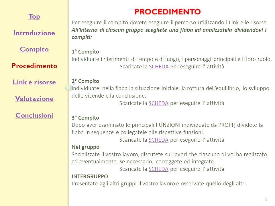 Top Introduzione Compito Procedimento Link e risorse Valutazione Conclusioni 6 FIABE Ancora fiabe su FIABE DEI FRATELLI GRIMMFIABE DEI FRATELLI GRIMM