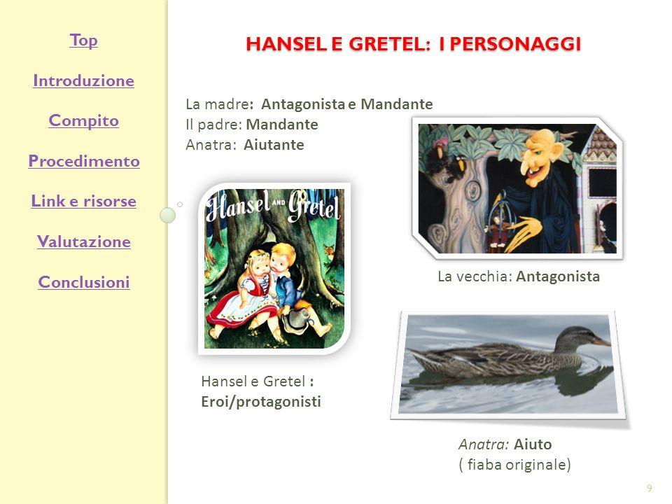 HANSEL E GRETEL: I PERSONAGGI La madre: Antagonista e Mandante Il padre: Mandante Anatra: Aiutante La vecchia: Antagonista Hansel e Gretel : Eroi/prot