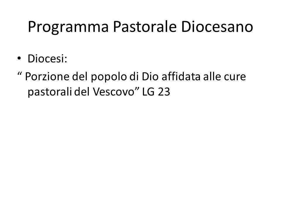 Programma Pastorale Diocesano Diocesi: Porzione del popolo di Dio affidata alle cure pastorali del Vescovo LG 23