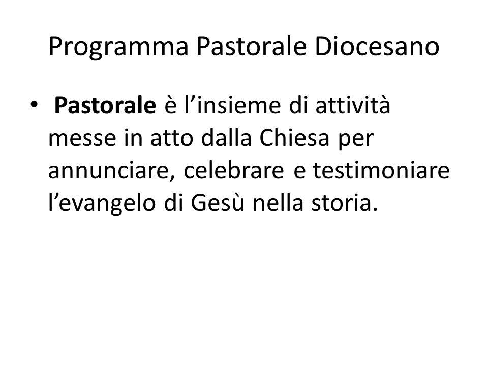 Programma Pastorale Diocesano Pastorale è linsieme di attività messe in atto dalla Chiesa per annunciare, celebrare e testimoniare levangelo di Gesù nella storia.