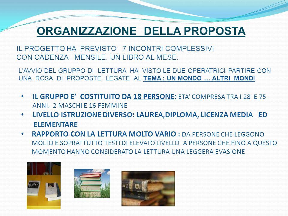 ORGANIZZAZIONE DELLA PROPOSTA IL PROGETTO HA PREVISTO 7 INCONTRI COMPLESSIVI CON CADENZA MENSILE.