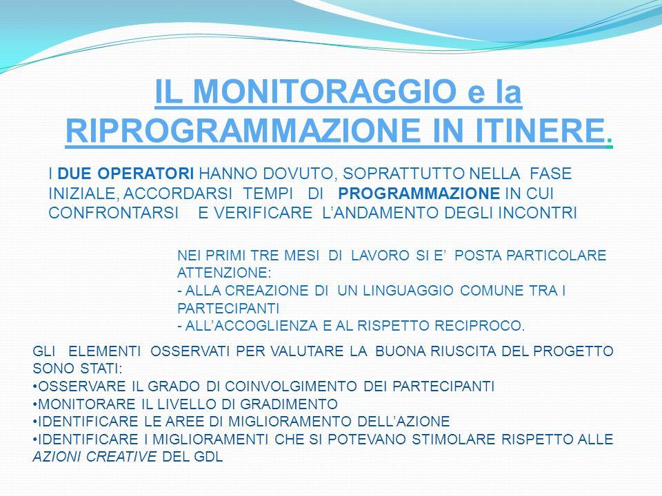 IL MONITORAGGIO e la RIPROGRAMMAZIONE IN ITINERE.
