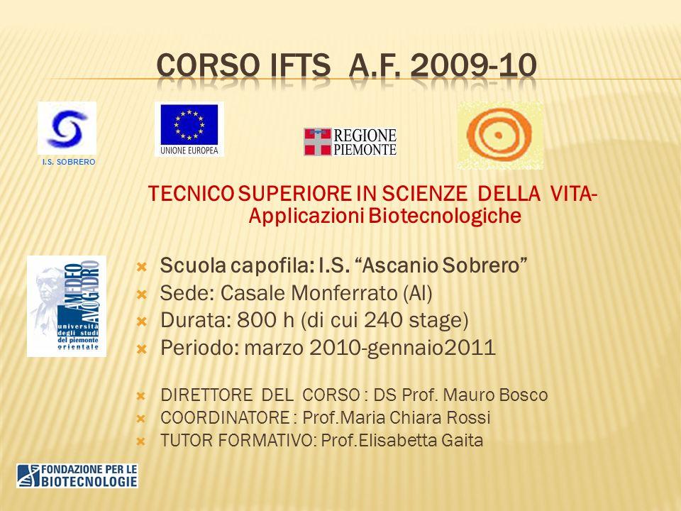 TECNICO SUPERIORE IN SCIENZE DELLA VITA- Applicazioni Biotecnologiche Scuola capofila: I.S. Ascanio Sobrero Sede: Casale Monferrato (Al) Durata: 800 h