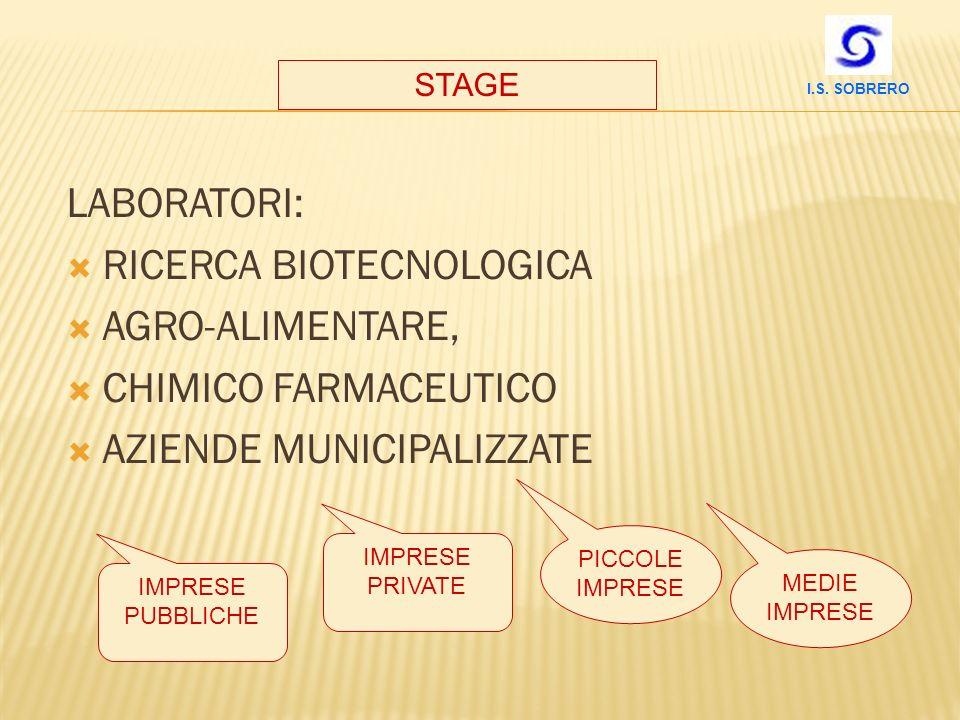 LABORATORI: RICERCA BIOTECNOLOGICA AGRO-ALIMENTARE, CHIMICO FARMACEUTICO AZIENDE MUNICIPALIZZATE STAGE IMPRESE PUBBLICHE IMPRESE PRIVATE PICCOLE IMPRE