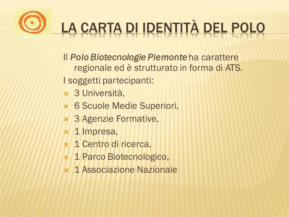 Il Polo Biotecnologie Piemonte ha carattere regionale ed è strutturato in forma di ATS. I soggetti partecipanti: 3 Università, 6 Scuole Medie Superior