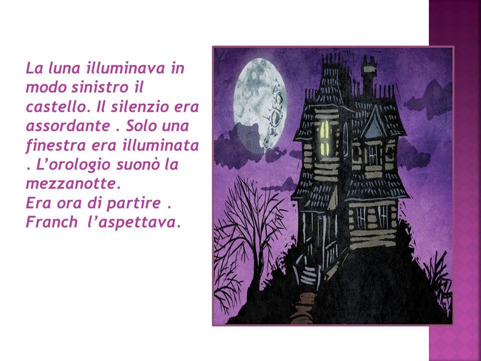 La luna illuminava in modo sinistro il castello. Il silenzio era assordante. Solo una finestra era illuminata. Lorologio suonò la mezzanotte. Era ora