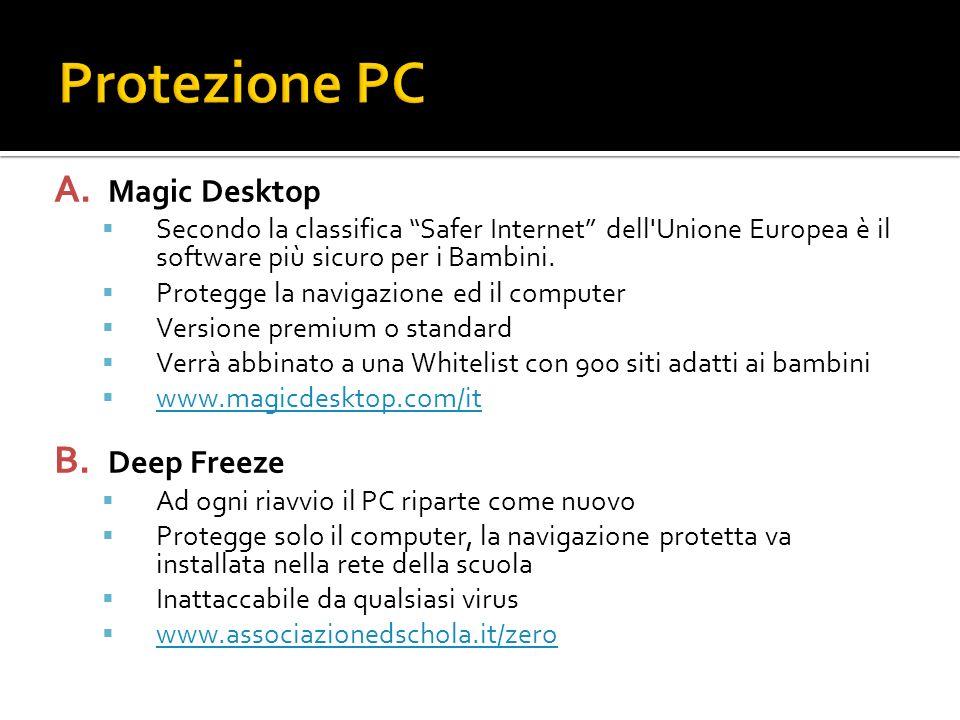A. Magic Desktop Secondo la classifica Safer Internet dell'Unione Europea è il software più sicuro per i Bambini. Protegge la navigazione ed il comput