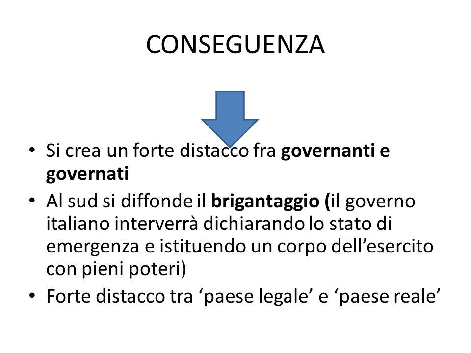 CONSEGUENZA Si crea un forte distacco fra governanti e governati Al sud si diffonde il brigantaggio (il governo italiano interverrà dichiarando lo sta