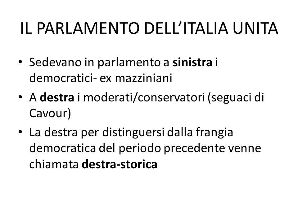 IL PARLAMENTO DELLITALIA UNITA Sedevano in parlamento a sinistra i democratici- ex mazziniani A destra i moderati/conservatori (seguaci di Cavour) La