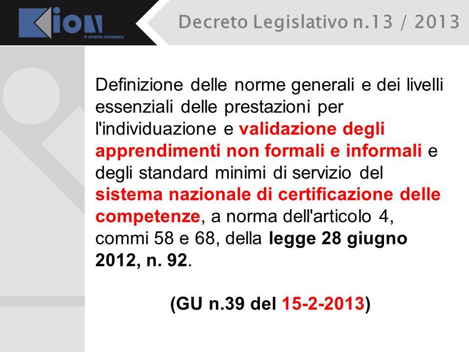 Decreto Legislativo n.13 / 2013 Definizione delle norme generali e dei livelli essenziali delle prestazioni per l'individuazione e validazione degli a