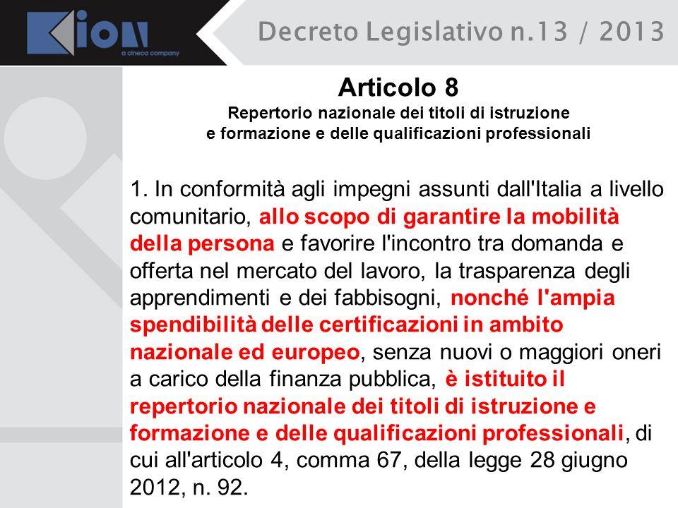 Decreto Legislativo n.13 / 2013 Articolo 8 Repertorio nazionale dei titoli di istruzione e formazione e delle qualificazioni professionali 1. In confo