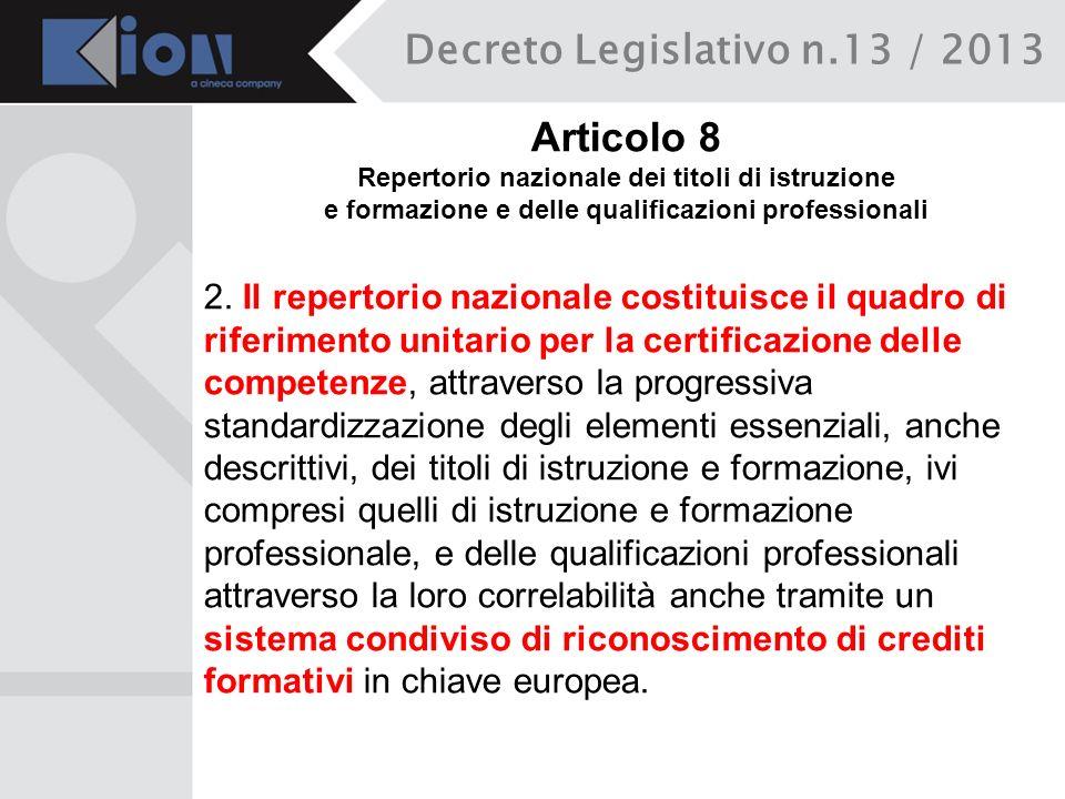 Decreto Legislativo n.13 / 2013 Articolo 8 Repertorio nazionale dei titoli di istruzione e formazione e delle qualificazioni professionali 2. Il reper