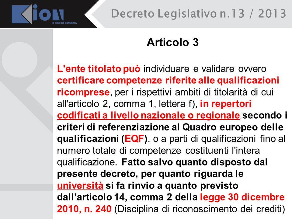 Decreto Legislativo n.13 / 2013 Articolo 3 L'ente titolato può individuare e validare ovvero certificare competenze riferite alle qualificazioni ricom