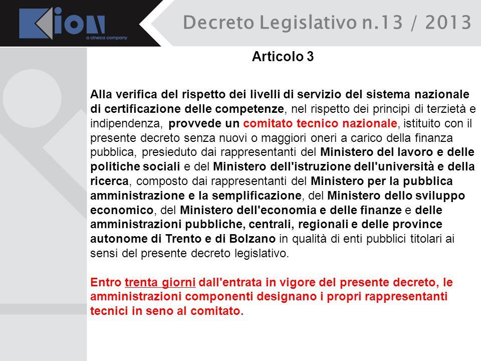 Decreto Legislativo n.13 / 2013 Articolo 3 Alla verifica del rispetto dei livelli di servizio del sistema nazionale di certificazione delle competenze