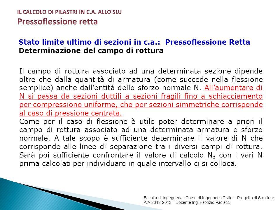 Facoltà di Ingegneria - Corso di Ingegneria Civile – Progetto di Strutture A/A 2012-2013 – Docente Ing. Fabrizio Paolacci Stato limite ultimo di sezio
