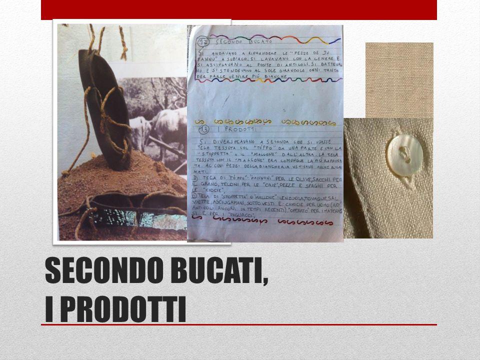 SECONDO BUCATI, I PRODOTTI