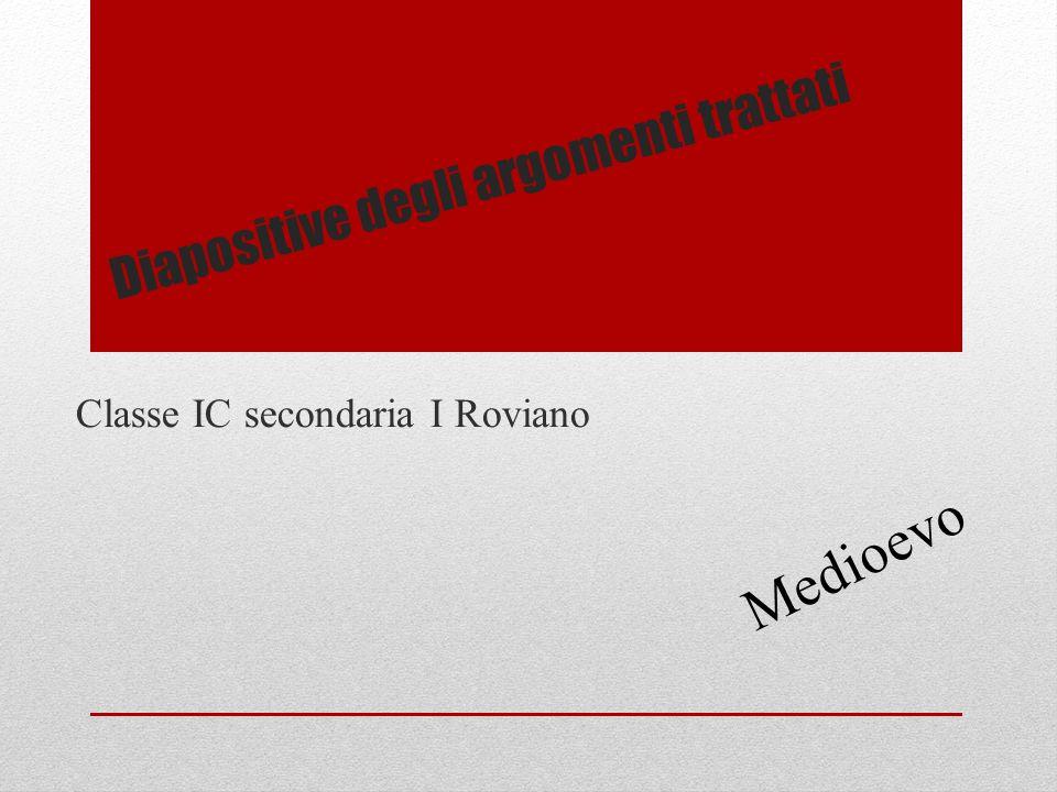 Diapositive degli argomenti trattati Classe IC secondaria I Roviano Medioevo