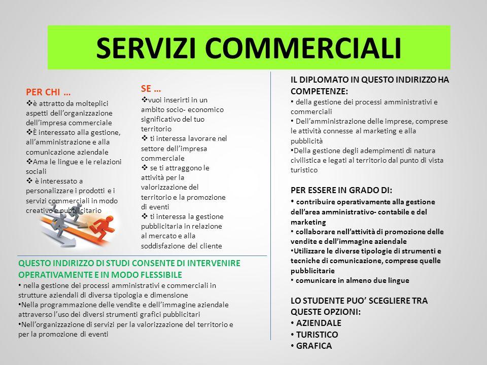 SERVIZI COMMERCIALI PER CHI … è attratto da molteplici aspetti dellorganizzazione dellimpresa commerciale È interessato alla gestione, allamministrazi