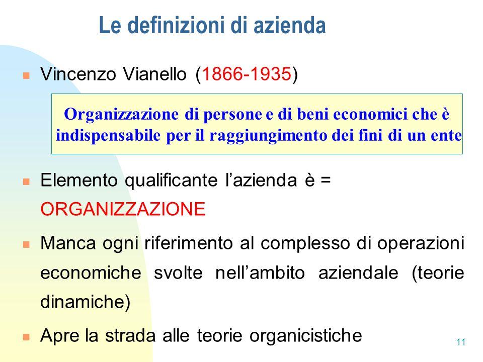 Le definizioni di azienda Vincenzo Vianello (1866-1935) Elemento qualificante lazienda è = ORGANIZZAZIONE Manca ogni riferimento al complesso di operazioni economiche svolte nellambito aziendale (teorie dinamiche) Apre la strada alle teorie organicistiche Organizzazione di persone e di beni economici che è indispensabile per il raggiungimento dei fini di un ente 11