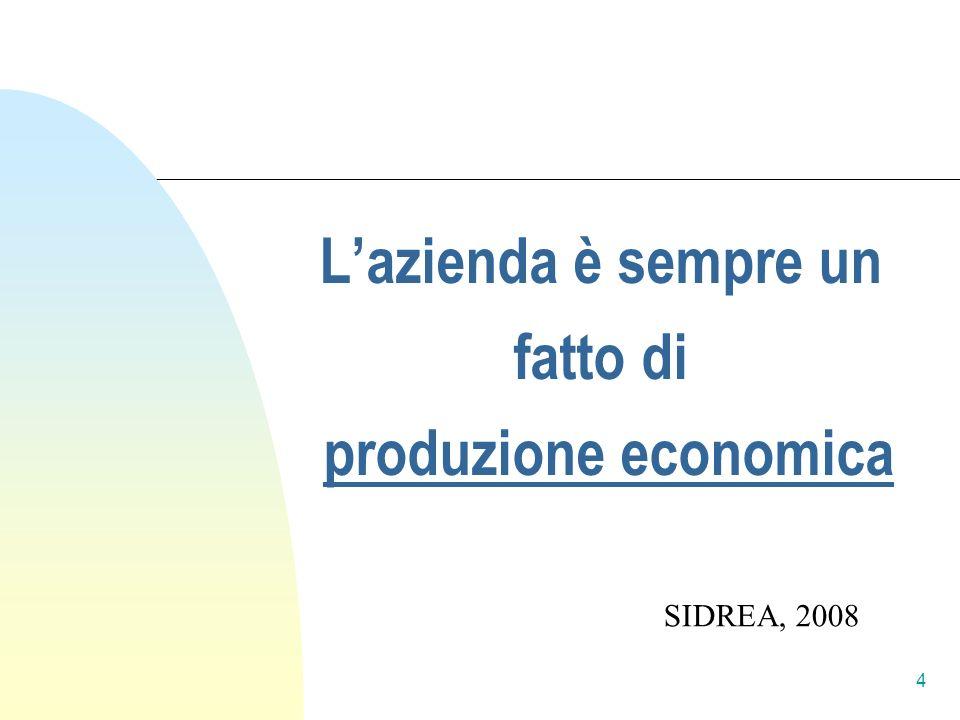 Lazienda è sempre un fatto di produzione economica SIDREA, 2008 4