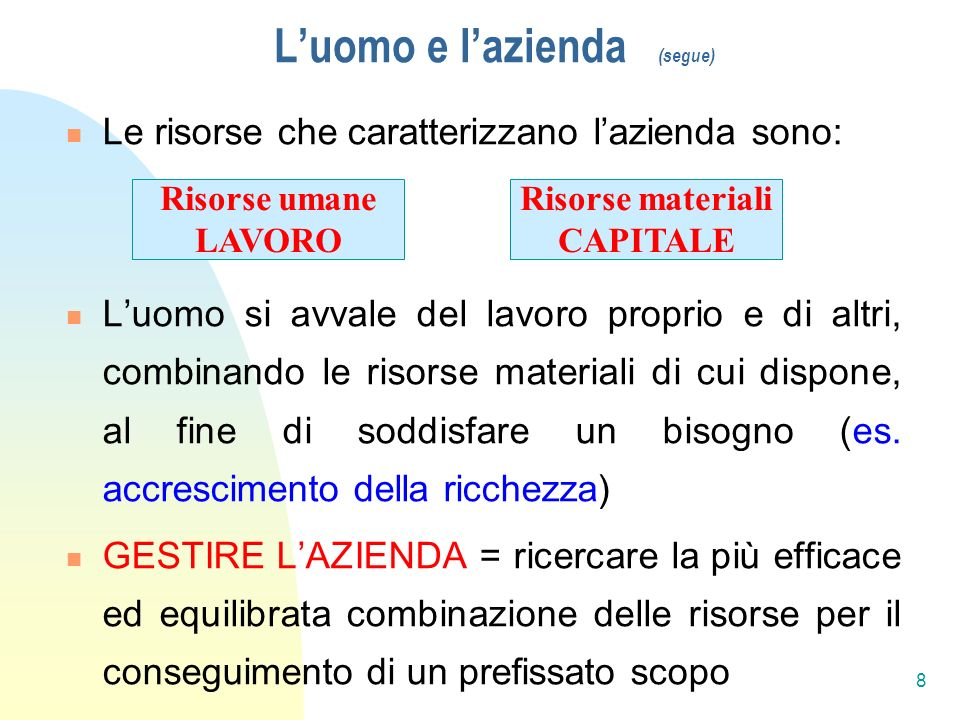Luomo e lazienda (segue) Le risorse che caratterizzano lazienda sono: Luomo si avvale del lavoro proprio e di altri, combinando le risorse materiali di cui dispone, al fine di soddisfare un bisogno (es.