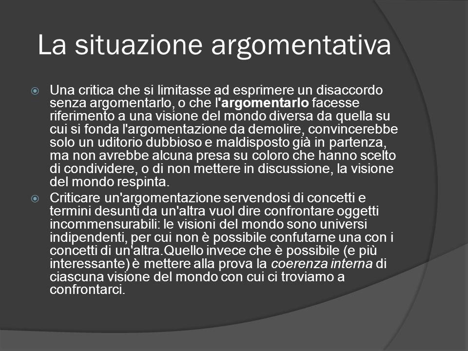 La situazione argomentativa Una critica che si limitasse ad esprimere un disaccordo senza argomentarlo, o che l'argomentarlo facesse riferimento a una