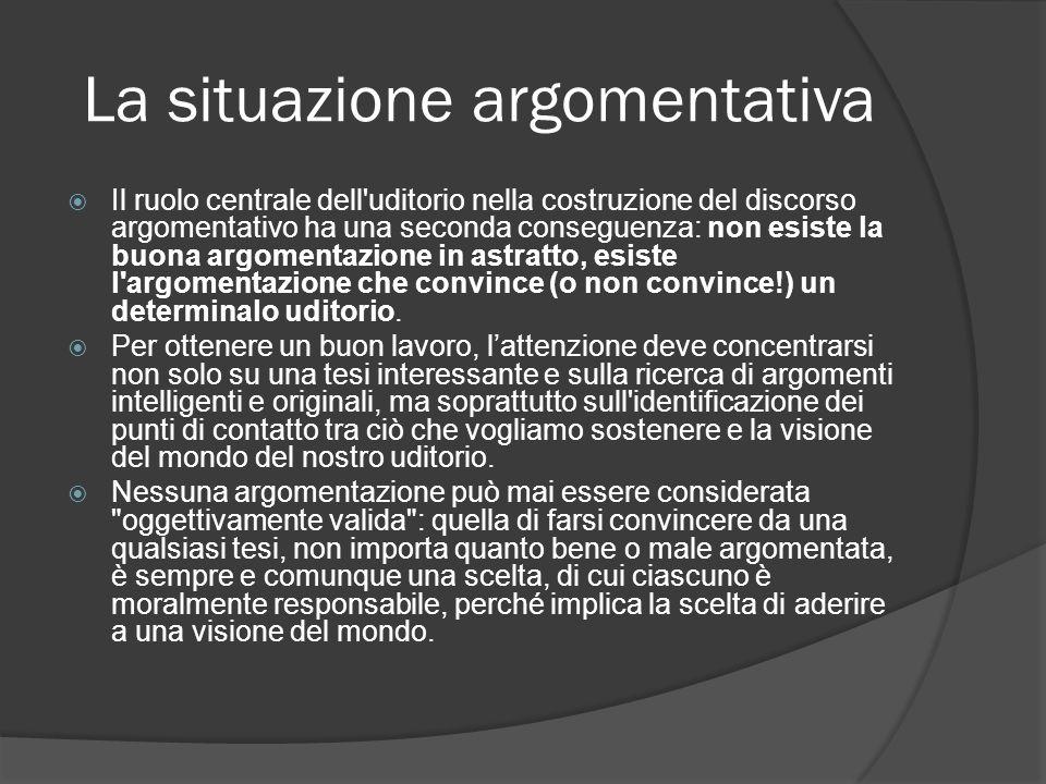 La situazione argomentativa Il ruolo centrale dell'uditorio nella costruzione del discorso argomentativo ha una seconda conseguenza: non esiste la buo