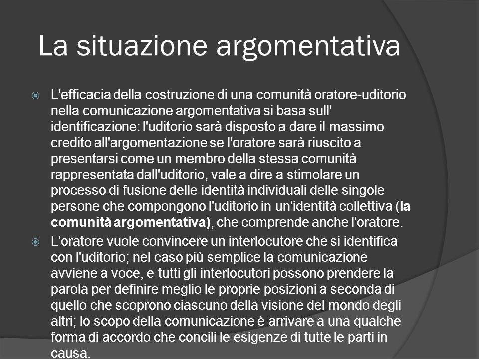 La situazione argomentativa L'efficacia della costruzione di una comunità oratore-uditorio nella comunicazione argomentativa si basa sull' identificaz