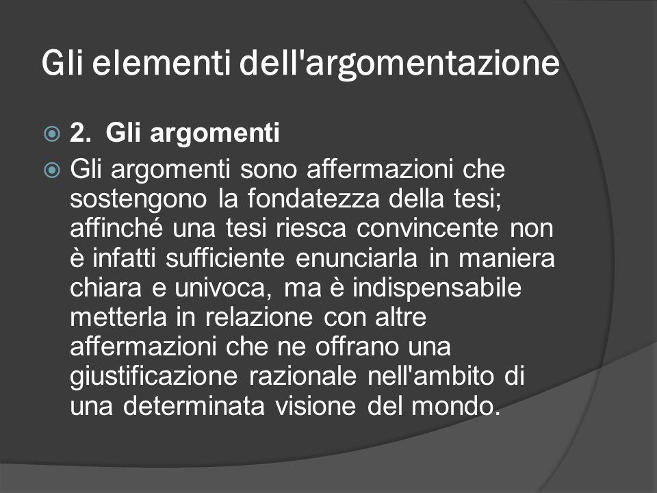 Gli elementi dell'argomentazione 2.Gli argomenti Gli argomenti sono affermazioni che sostengono la fondatezza della tesi; affinché una tesi riesca con