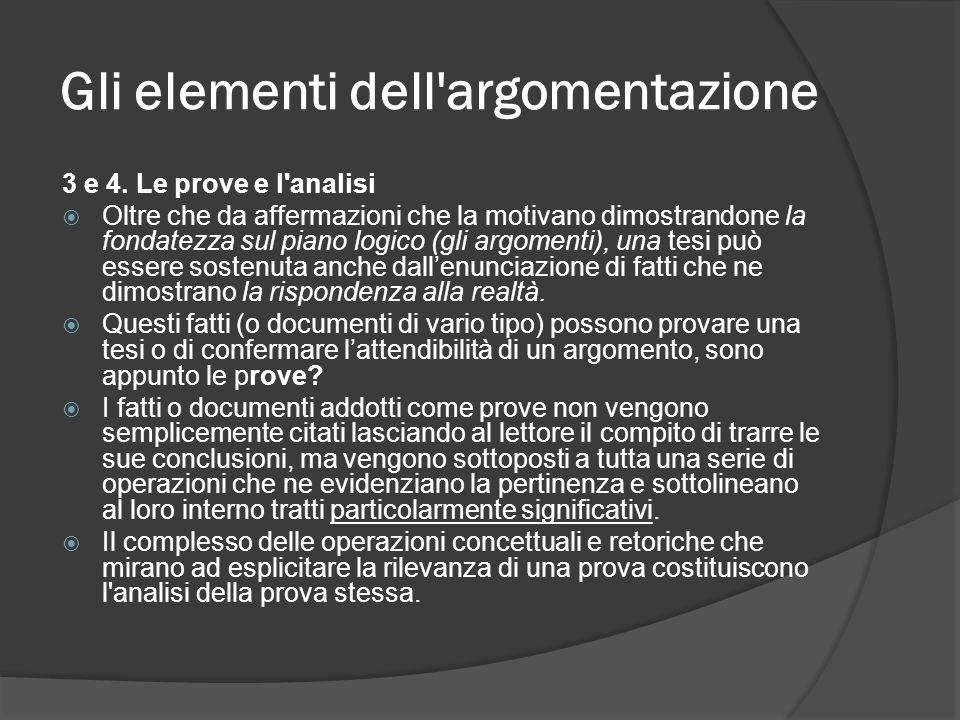 Gli elementi dell'argomentazione 3 e 4. Le prove e l'analisi Oltre che da affermazioni che la motivano dimostrandone la fondatezza sul piano logico (g