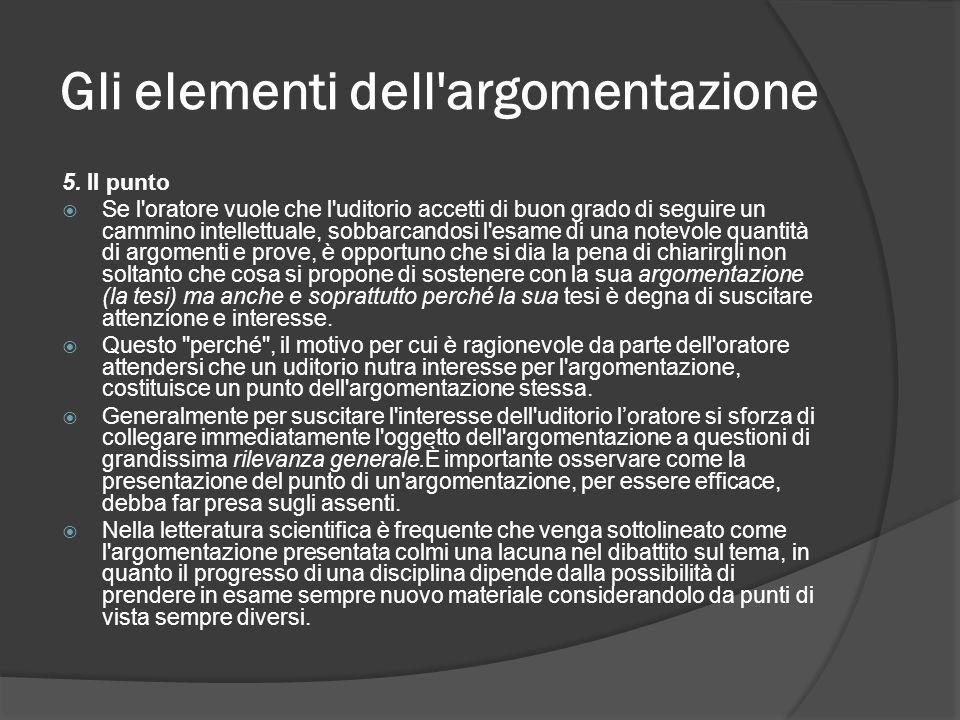 Gli elementi dell'argomentazione 5. II punto Se l'oratore vuole che l'uditorio accetti di buon grado di seguire un cammino intellettuale, sobbarcandos