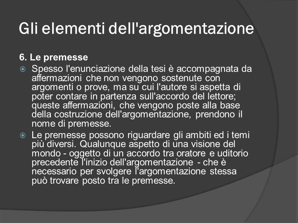 Gli elementi dell'argomentazione 6. Le premesse Spesso l'enunciazione della tesi è accompagnata da affermazioni che non vengono sostenute con argoment