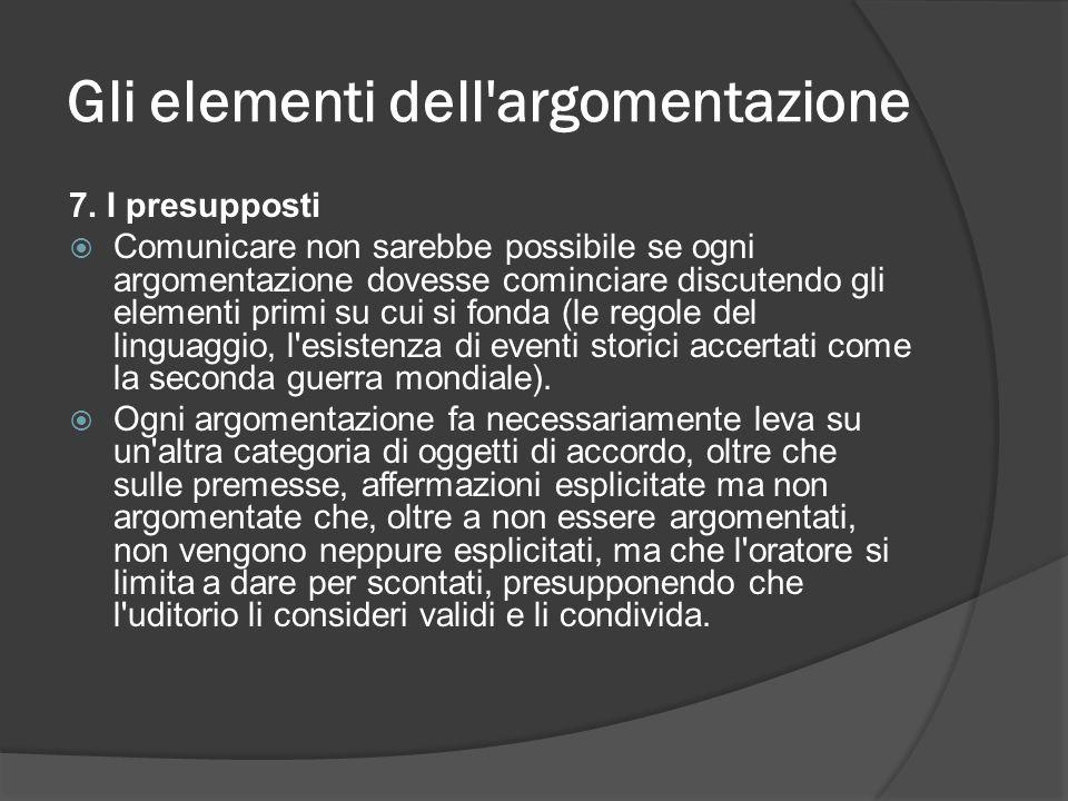 Gli elementi dell'argomentazione 7. I presupposti Comunicare non sarebbe possibile se ogni argomentazione dovesse cominciare discutendo gli elementi p