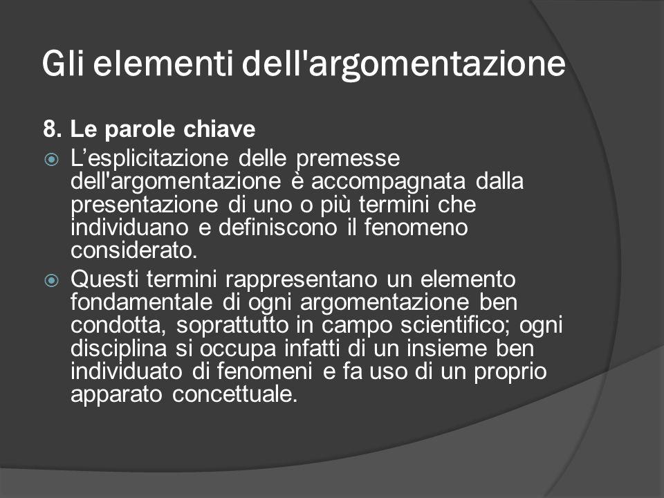 Gli elementi dell'argomentazione 8. Le parole chiave Lesplicitazione delle premesse dell'argomentazione è accompagnata dalla presentazione di uno o pi
