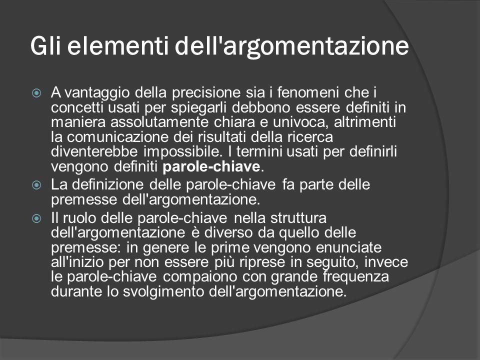 Gli elementi dell'argomentazione A vantaggio della precisione sia i fenomeni che i concetti usati per spiegarli debbono essere definiti in maniera ass