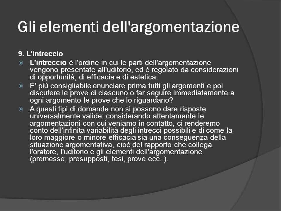 Gli elementi dell'argomentazione 9. Lintreccio L'intreccio è l'ordine in cui le parti dell'argomentazione vengono presentate all'uditorio, ed è regola