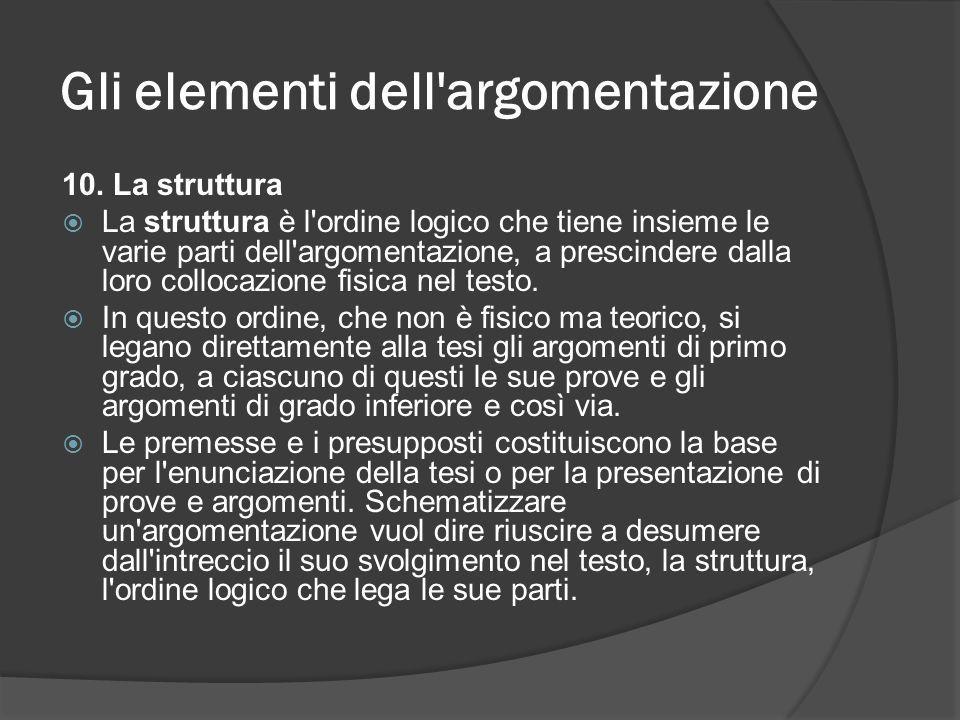 Gli elementi dell'argomentazione 10. La struttura La struttura è l'ordine logico che tiene insieme le varie parti dell'argomentazione, a prescindere d